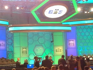 A picture of the Spelling Bee Stage before the spellers came on.